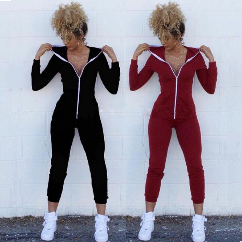 Women Sexy Bodycon zipper V-neck Stretch Hooded Pullover Zipper Hoodie Romper Jumpsuits playsuits tracksuits Overalls for women