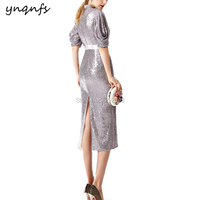YNQNFS RE10 Chinese Style High Neck 1/2 Sleeve Sheath Party Gown Tea Length Guest Dress Mother of Bride Dresses Silver Grey 2019