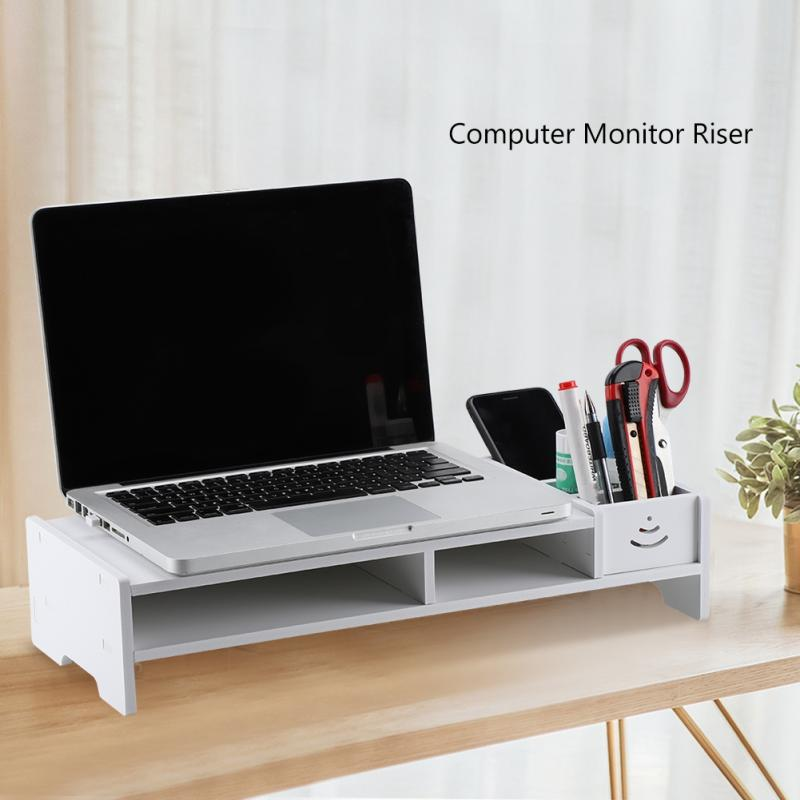 Wooden Monitor Stand Drawer Bookshelf Storage-Cabinet Laptop-Support Riser Computer Desktop