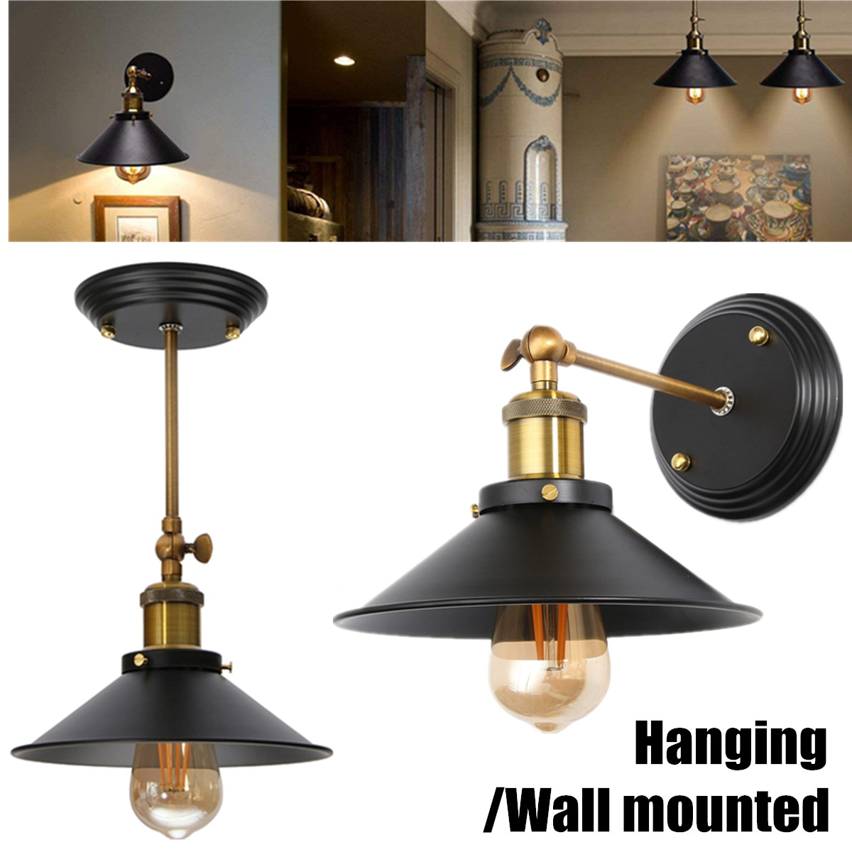 Retro Industrial Iron Pendant Lights Loft Lamp Wall Sconce Light Vintage Hang Pendant Ceiling Lamp For Restaurant Kitchen Home