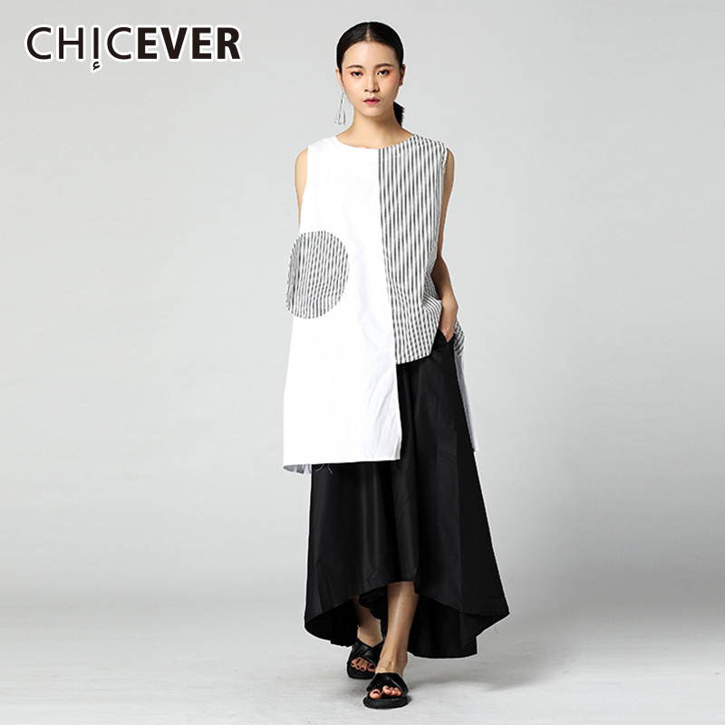 CHICEVER 2019 Striped Women's Shirt Blouses Sleeveless Hem Irregular Tops O Neck Summer Women Blouse Top Fashion Tide New