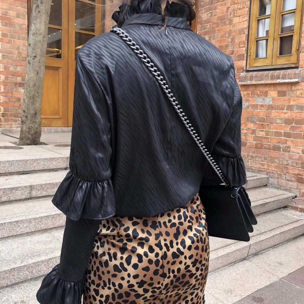 Col Haut De Chemise Imprimé Blouses Serpent Printemps Pour 2 Vêtements 2019 Noire Mode À Longues Femme Roulé Manches Volants Chic 1 TwqA6A8