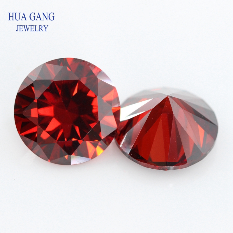 11~20mm Garnet Cubic Zirconia Round Shape 5A Brilliant Cut Loose CZ Stone Synthetic Gems For Jewelry Free shipping