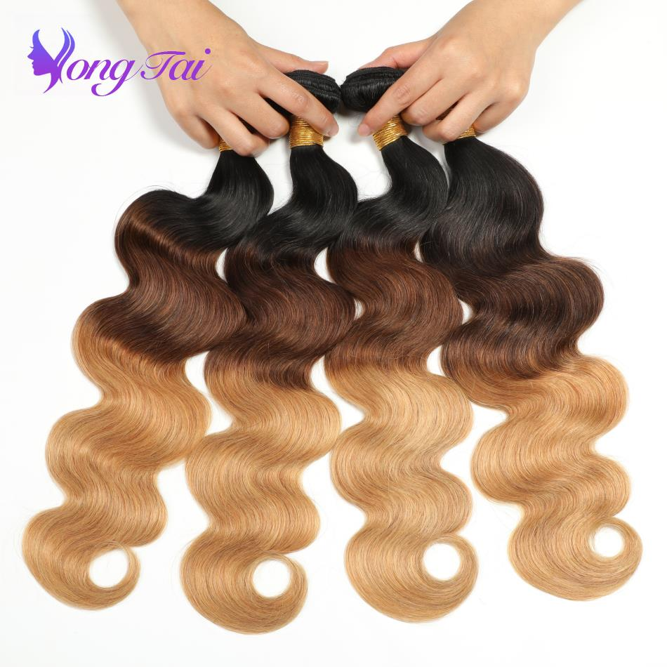 3/4 Bundles Enthusiastic Yuyongtai Hair Brazilian Body Wave Human Hair Customized 8-30 Inches 4 Bundles Per Lot 1b/4/27 100% Human Hair No Shedding High Standard In Quality And Hygiene