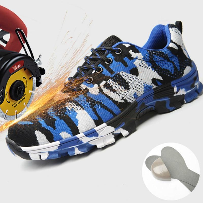 Segurança Sky Casual Erkek Sneakers Ayakkabi Modis Da Aço Leve Size Trabalho Sapatos Biqueira Dos Homens Plus Green Homem 48 Sapatas army Blue De Zapatillas Militar wpt1tq
