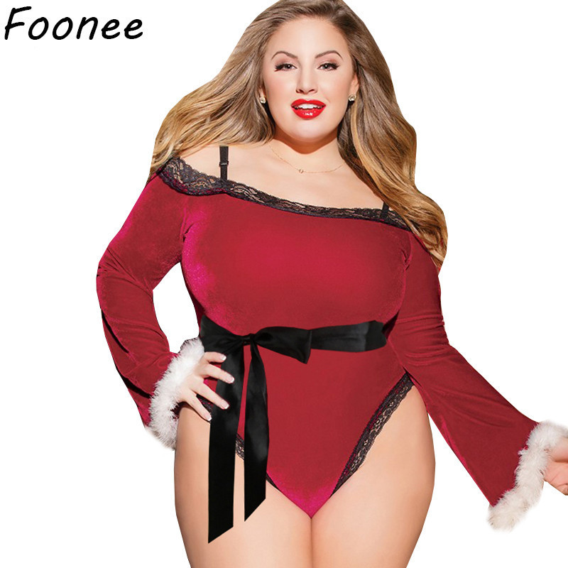Red Sexy lingerie Christmas lace velvet bodysuit erotic costume plus size role play feather long sleeve women teddy underwear