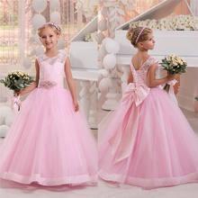 77f97a9df Simple niños de encaje de color rosa princesa vestidos de niña arco faja  con abalorios Lolita