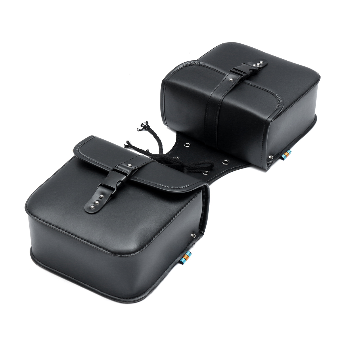 1 Set Universal Motorcycle Saddle Bags Side Storage Fork Tool Bag Pouch For Harley For Honda Leather Luggage Black Bags