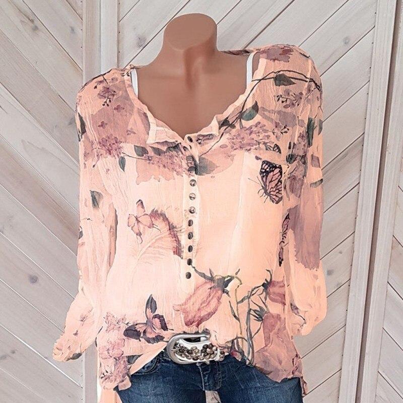 Button Women   Shirts   Spring Casual V-Neck Chiffon   Blouse   Women Top Camisa Feminina Long Sleeve Ladies Print   Blouse   Femme   Shirt