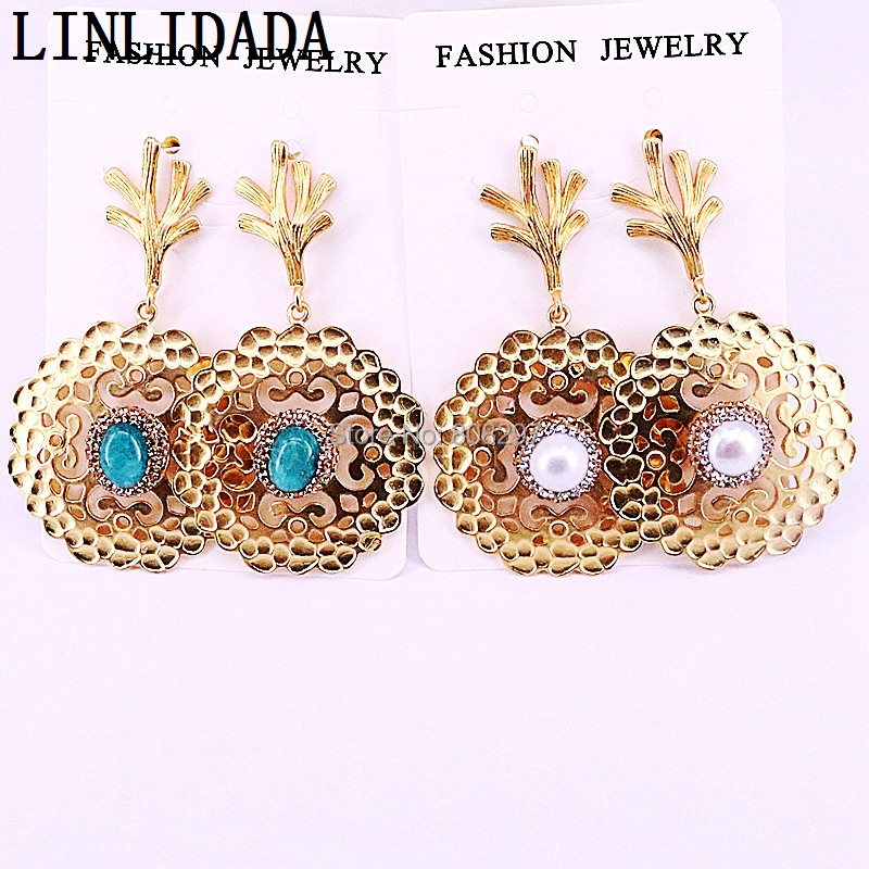 3Pairs Fashion Metal round hollow earrings Paved Rhinestone Crystal Stone Pearl Charm Dangle earrings Jewelry for