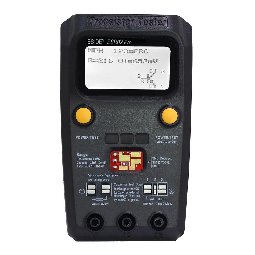 BSIDE ESR02 pro Multi-purpose Transistor Tester Diode Triode Capacitance Resistor Meter MOS/PNP/NPN SMD