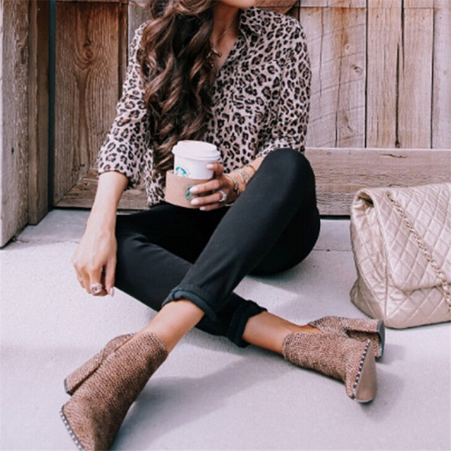 Sexy Leopard Print Shirt Women Long Sleeve Shirts Ladies Shirts And Blouses Button Shirt Casual Turn Down Collar Leopard Blouses 6