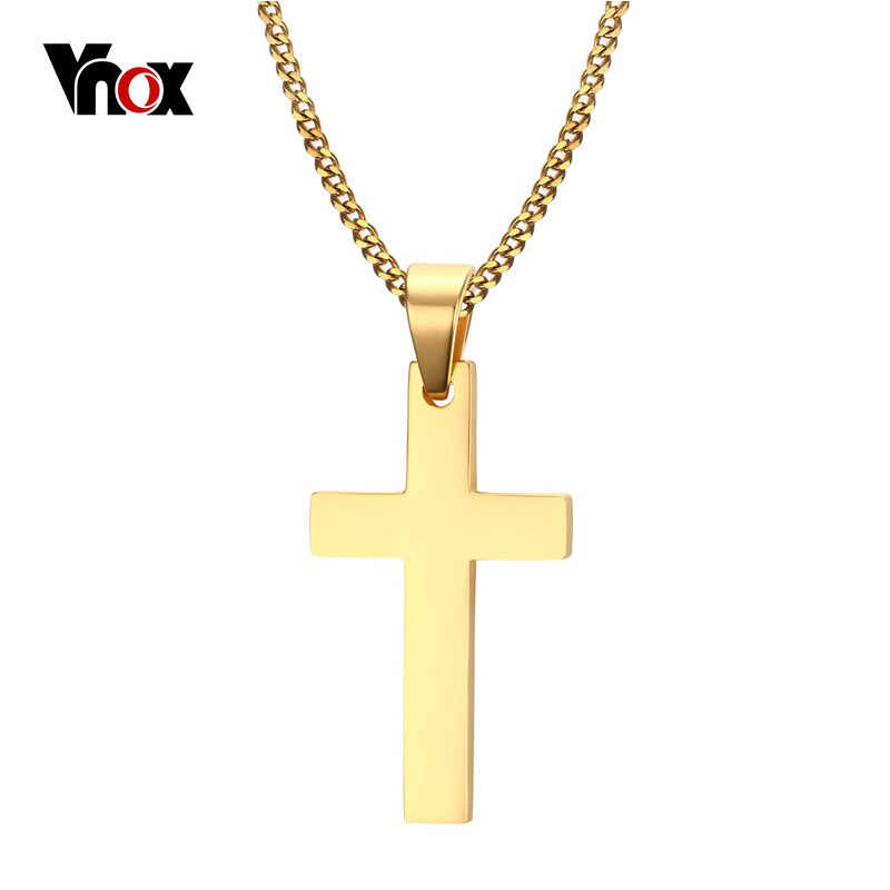 "Vnox Simple Classical Cross Pendant Necklace for Men Free 24"" Stainless Steel Link Chain Necklace Male Jewelry"