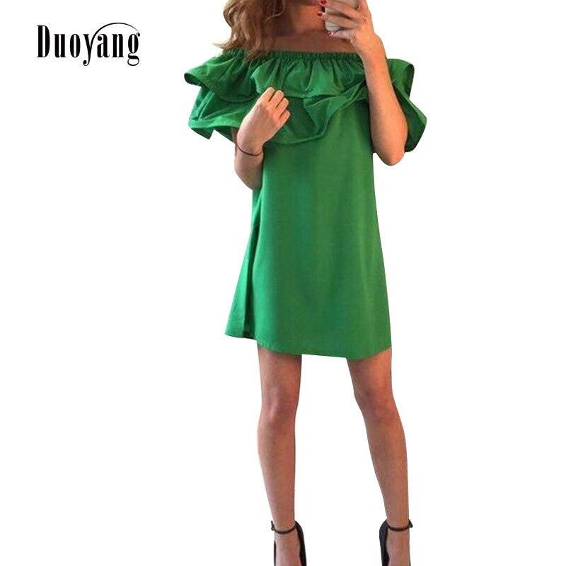 3c2a03d5f1ef Vestido de las mujeres 2019 de moda sexy hombro mujer mini vestido con  volantes de playa estilo ...