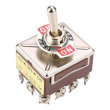 цена на ON/OFF/ON 3 Position Toggle Switch 4PDT 12 Pin 12mm 15A/250VAC 10A/380VAC Toggle Switch High Quality