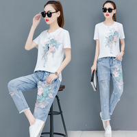 2019 Summer New Women Sequins Embroidered Flowers T Shirts Jeans Suits Casual Loose Tshirt Long Denim Pants Sets for Woman