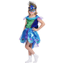 Kids Peacock Costume Dress For Girls Animal Birds Children Cosplay Halloween Carnival Party