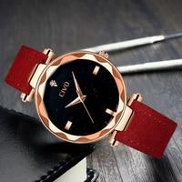 CIVO Fashion Elegant Women Wrist Watch Luxury Brand Diamond Watches Delicate Reloj Mujer Red Genuine Leather Quarts Women Watch