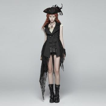 Punk Rave Women's Goth High-Low Flowing Lace Vest WY1024