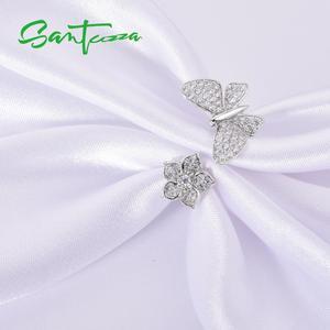 Image 4 - SANTUZZAแหวนเงิน925เงินสเตอร์ลิงGorgeousแหวนผีเสื้อสีขาวเงาCubic Zirconiaแฟชั่นเครื่องประดับ