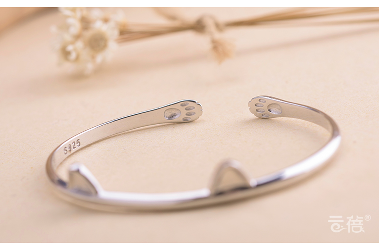 Personality New Art 925 Sterling Silver Jewelry Female Simple Bar Cat paw High quality Popular Open Bracelet in Bangles from Jewelry Accessories