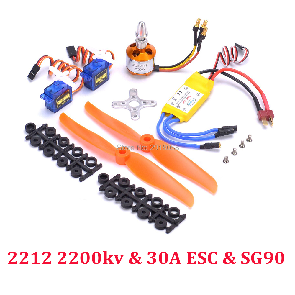XXD A2212 2212 2200KV 6T Brushless Motor 30A ESC SG90 9G Micro Servo <font><b>6035</b></font> <font><b>Propeller</b></font> for RC Fixed Wing Plane Helicopter image