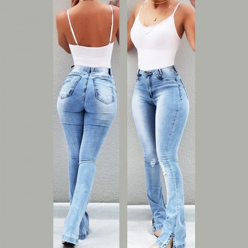 Women 39 s Fashion New Casual Slim Stretchy Denim High Waist Jeans Oversized Long Pencil Pants Light Blue Trousers for Women S 3XL in Jeans from Women 39 s Clothing