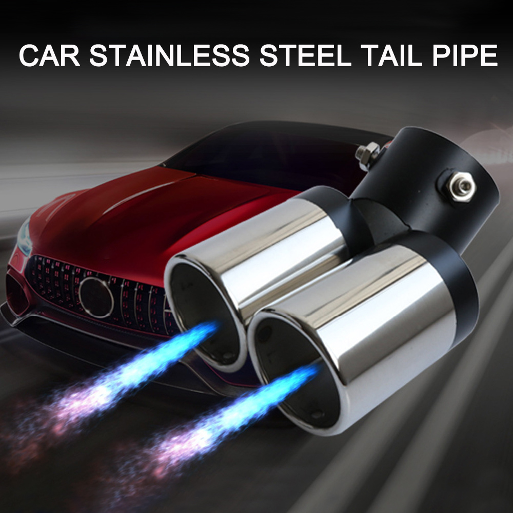 Universal Car Exhaust Muffler Stainless Steel Tail Pipe Trim Decorative Tip For VW Goft Auto Car Tail Throat Exhaust Muffler New