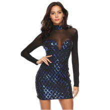 MUXU blue sequin sexy transparent dress vestidos bodycon long sleeve party kleider sukienka fashion glitter short