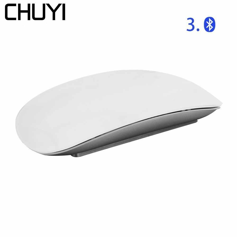 Chuyi Nirkabel Bluetooth Magic Mouse Slim Arc Touch Mouse Optical Ergonomis USB Komputer Ultra Tipis Bt 3.0 Tikus untuk apple MAC PC