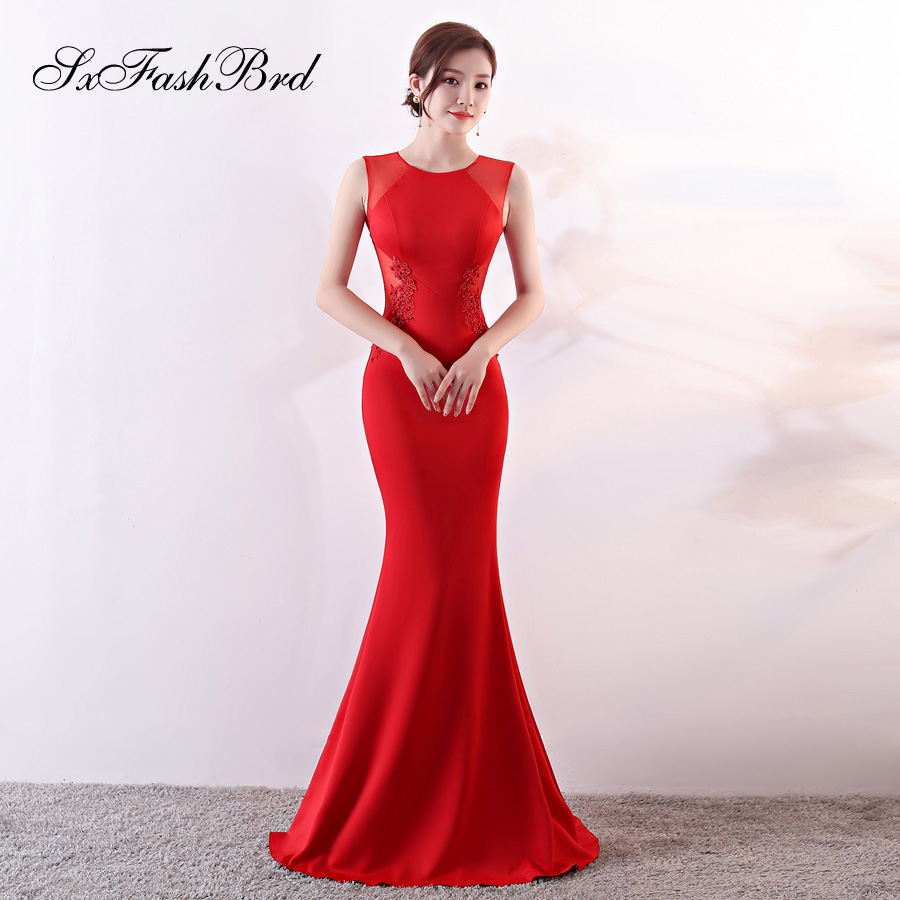 Avondjurk New Vestidos Largos Fashion Robe Longue O Neck Mermaid Red Long Party Women Evening Dress Sexy Prom Dresses