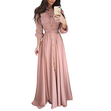 YJSFG HOUSE Women Dress Party Ball Prom Gown Formal Floor-Length Long Sleeve Dress Autumn Plus Size Button Empire Dress plunge maxi plus size empire waist prom dress