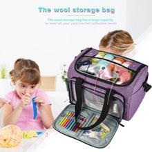 DIY вязаная сумка с короткими ручками, Большая вместительная сумка для хранения пряжи, сумка для вязания крючком из шерсти, набор для шитья, сумка-Органайзер для мамы, подарок для путешествий