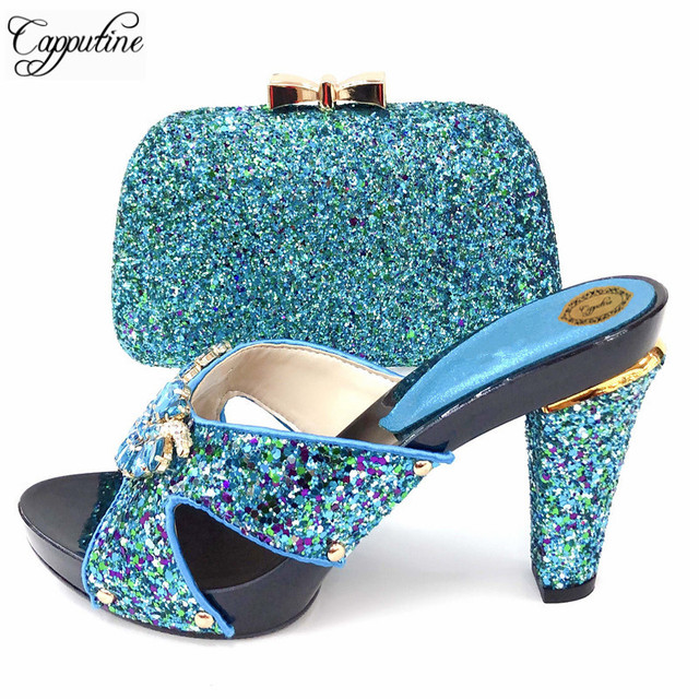 Capputine Nigeria Ladies Slipper Shoes Purse Set Italian Elegant Rhinestone Spike Heels Shoes And Bags Set To Match For Party