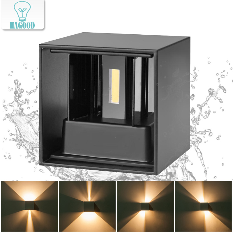 12W Waterproof IP65 Cube LED Wall Lamp AC85-265V Aluminum Up And Down  Garden Light Adjustable Wall Mounted Porch Lights12W Waterproof IP65 Cube LED Wall Lamp AC85-265V Aluminum Up And Down  Garden Light Adjustable Wall Mounted Porch Lights