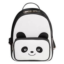 Lovely Panda Mini Girl Bags PU Leather Black Bookbag Casual Female Backpack  Fashion Teenagers School Bag New Women Backpacks 59343695365ff