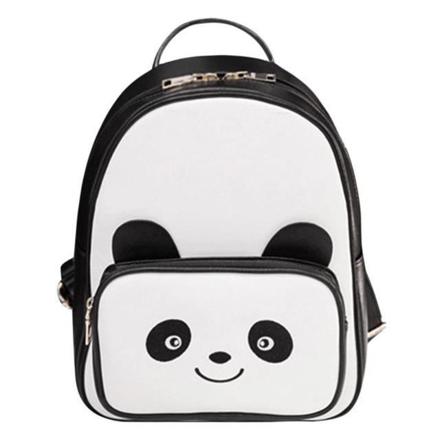 5d0387d208 Lovely Panda Mini Girl Bags PU Leather Black Bookbag Casual Female Backpack  Fashion Teenagers School Bag New Women Backpacks