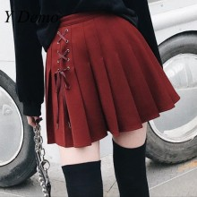 цены New Autumn New High Waist Eyelet Tie Pleated Skirt Punk Fashion Short Mini Preppy Skirts