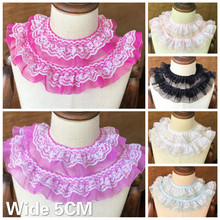 5CM Wide Luxury Double Layers 3D Pleated Chiffon Lace Embroidery Fabric Ribbon Ruffle Trim DIY Headwear Dress Sewing Accessories