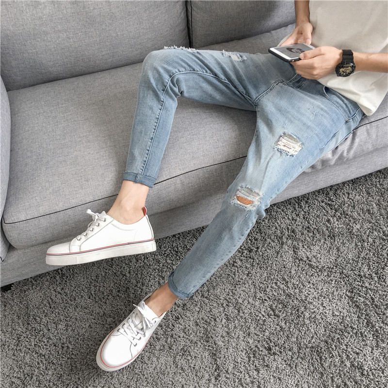 Summer   Jeans   Men Slim Fashion Washed Solid Color Torn Holes Denim Pants Man Streetwear Hip Hop Cowboy Trousers Male Clothes