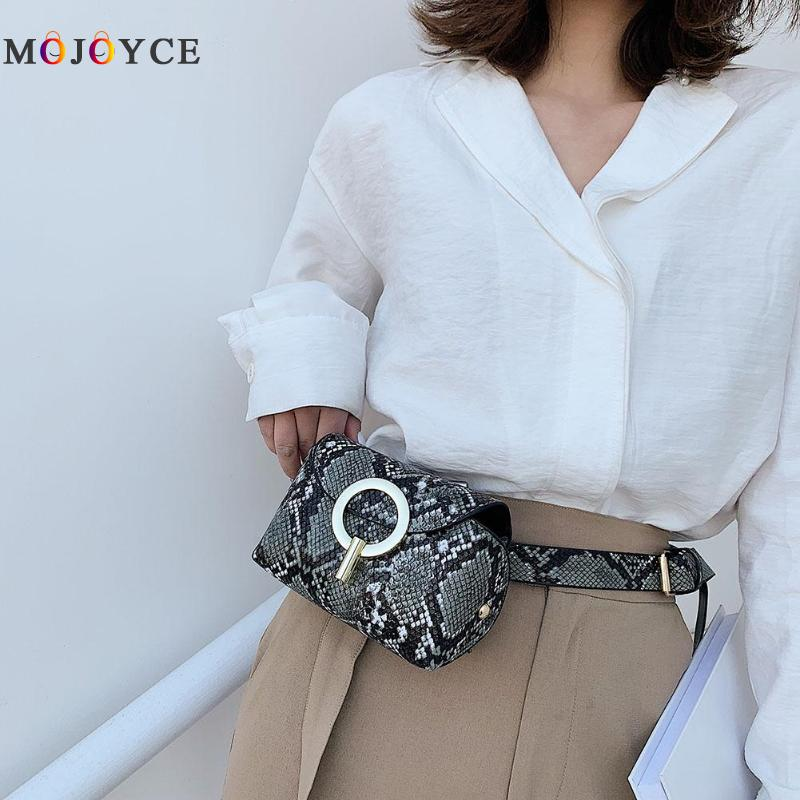 Fashion Snake Print Belt Bag Women Serpentine PU Leather Waist Bags Female Fanny Pack