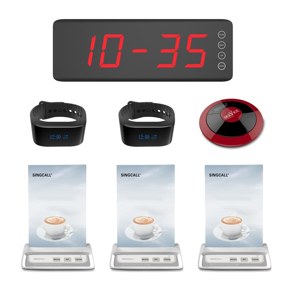 SINGCALL calling system bell wireless service 1 screen display receiver, 2 watch receivers, 3 menu buttons and 1 red color pager