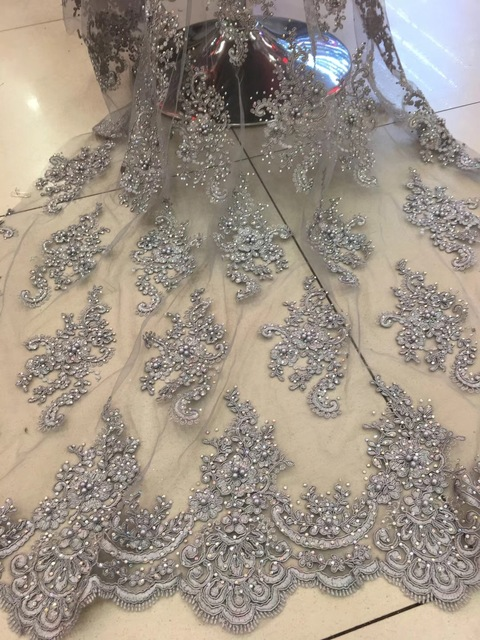 Flower Embroidery Mesh Beads Lace Fabric African Quality 2019 Mesh Wedding  Laces With Stones Indonesia Dress 54a33d4b75f1