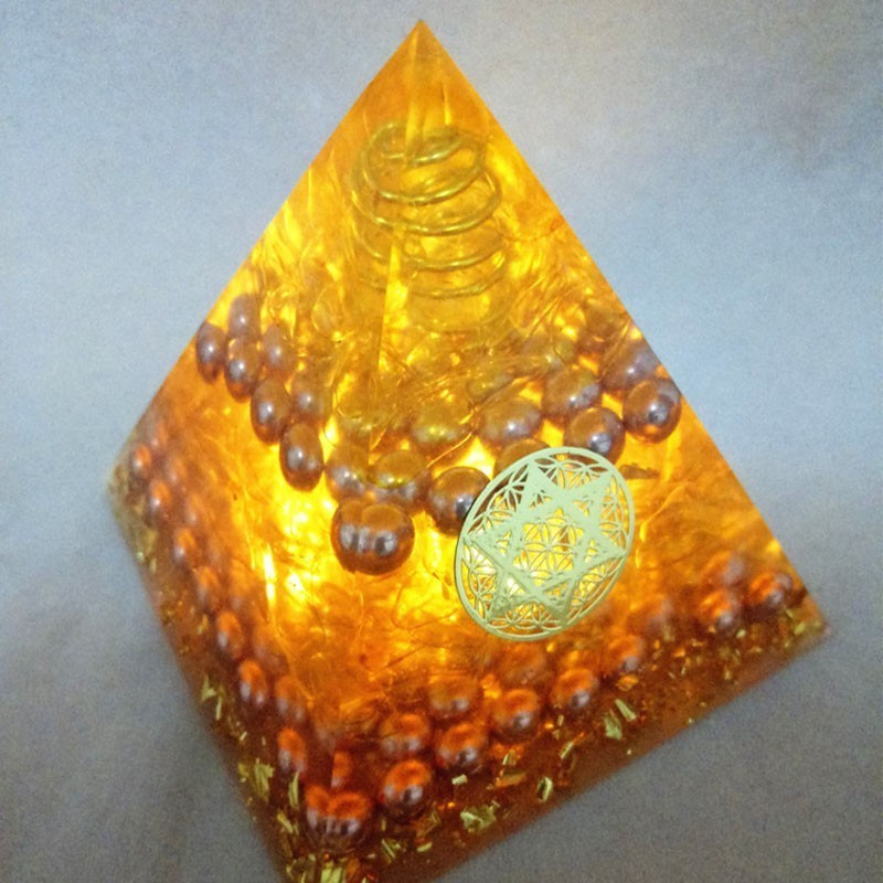 Aura Crystal Orgonite Energy Pyramid Aura Crystal Gather Wealth And Bring Good Luck Resin Decorative