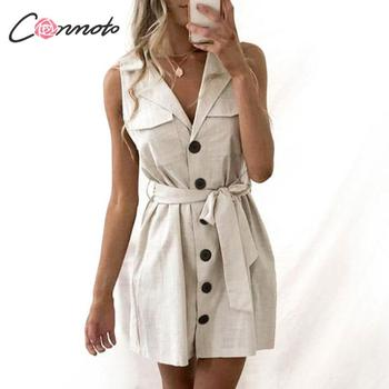 26404d701a1f7 Conmoto Zarif Kısa Blazer Kadın Elbise Seksi Yay Kemer Kravat Katı Mini  Elbise Keten Düğmesi pareo Parti Elbiseler Gömlek Vestidos