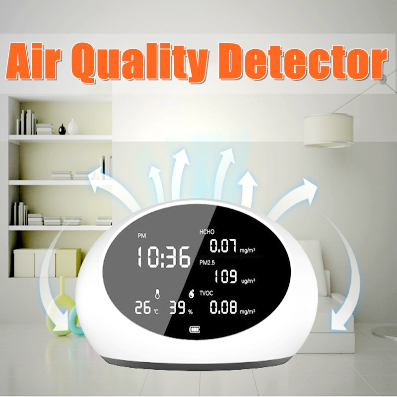 NEW Digital Air Quality Detector PM2.5 Gas Analyzers & HCHO & TVOC Formaldehyde Tester Meter Monitor TesterNEW Digital Air Quality Detector PM2.5 Gas Analyzers & HCHO & TVOC Formaldehyde Tester Meter Monitor Tester