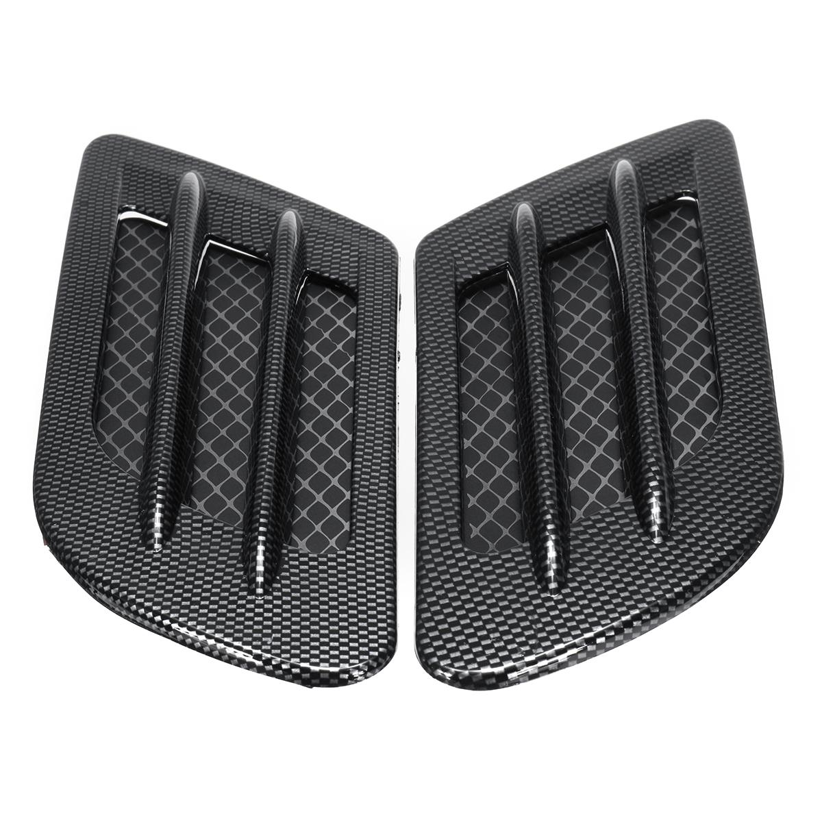 Car Bonnet Cover Carbon Fiber Air Intake Flow Side Vent Hood Scoop Sticker