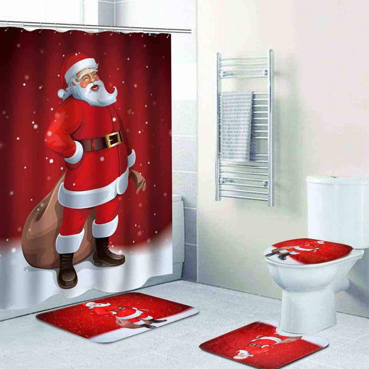 Detail Feedback Questions About Bathroom Accessories Christmas Toilet Seat Cover Rug Set Printed Santa Waterproof Bath Shower Curtain Decorations