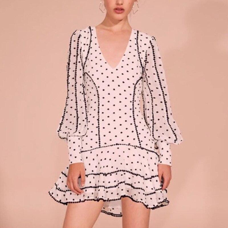 DEAT 2019 nouveau été mode femmes vêtements décontracté Dot dentelle lanterne manches Lotus feuille bord robe femme Vestido ZA42600