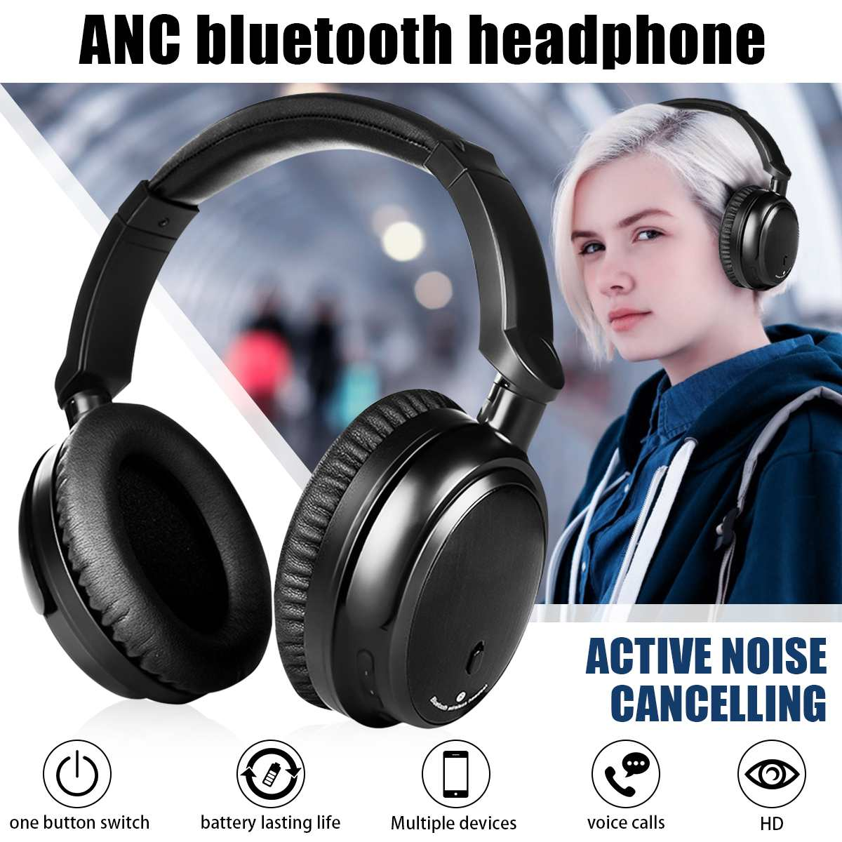 ANC Active หูฟังไร้สาย bluetooth HiFi ชุดหูฟังแบบสเตอริโอหูฟังพร้อมไมโครโฟนสำหรับ iphone สำหรับ Xiaomi-ใน หูฟังบลูทูธและชุดหูฟัง จาก อุปกรณ์อิเล็กทรอนิกส์ บน AliExpress - 11.11_สิบเอ็ด สิบเอ็ดวันคนโสด 1